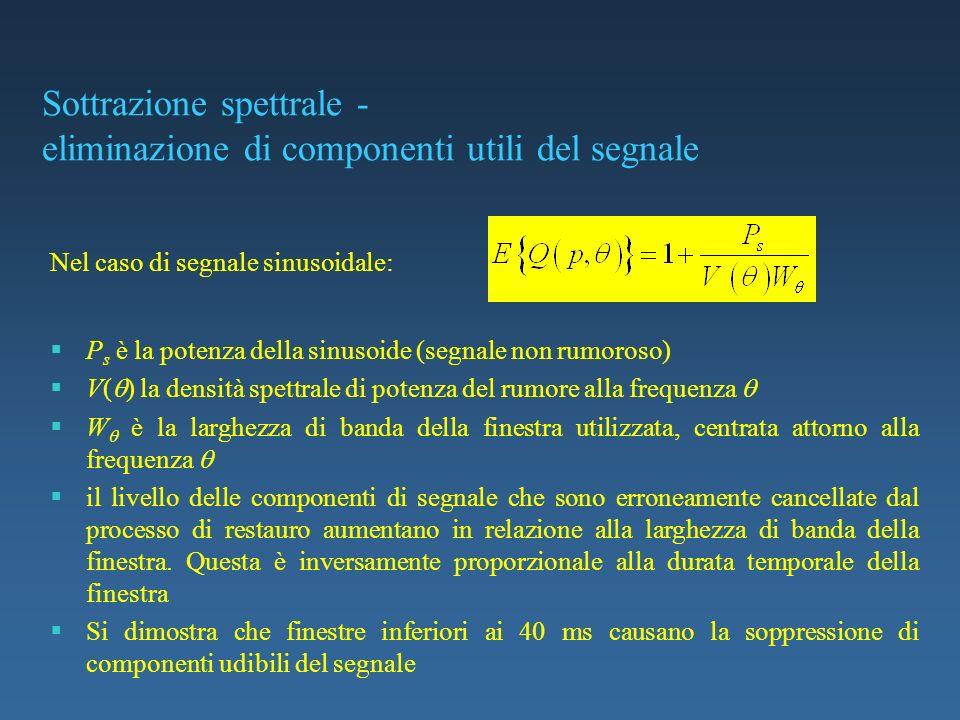 Sottrazione spettrale - eliminazione di componenti utili del segnale