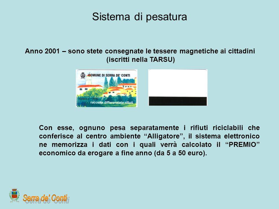 Sistema di pesatura Anno 2001 – sono stete consegnate le tessere magnetiche ai cittadini. (iscritti nella TARSU)