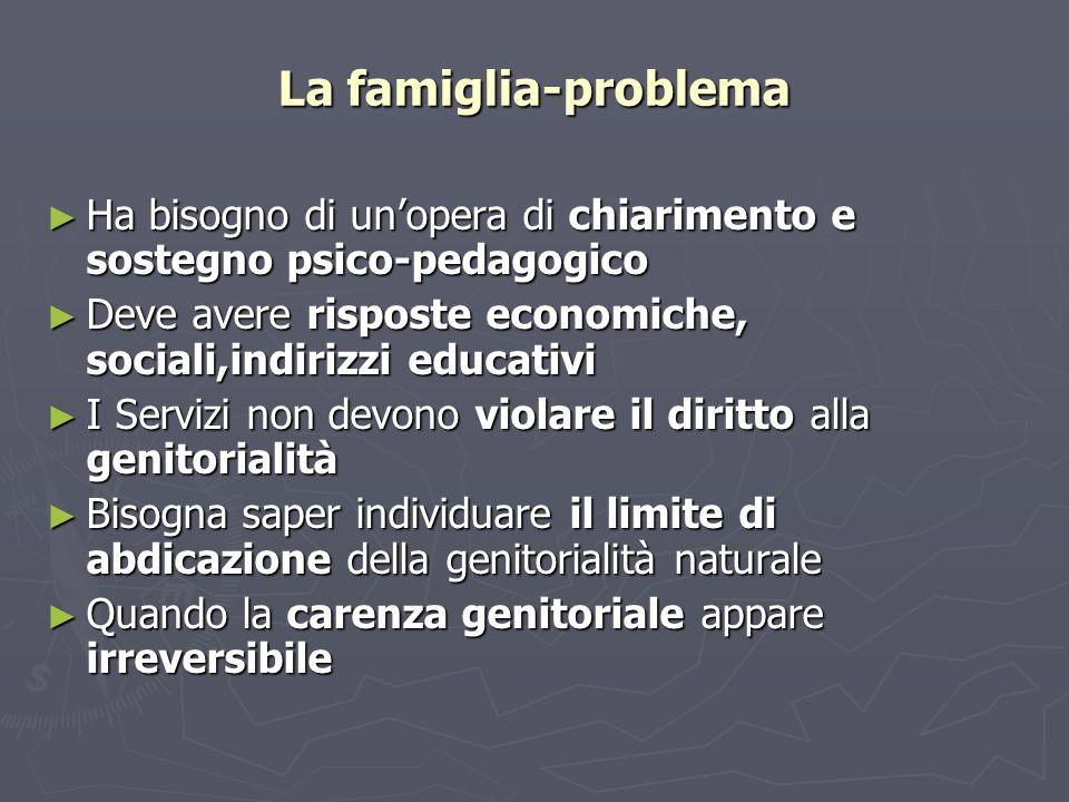 La famiglia-problema Ha bisogno di un'opera di chiarimento e sostegno psico-pedagogico. Deve avere risposte economiche, sociali,indirizzi educativi.