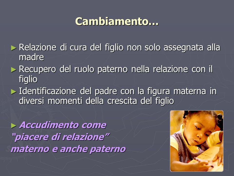 Cambiamento… Relazione di cura del figlio non solo assegnata alla madre. Recupero del ruolo paterno nella relazione con il figlio.