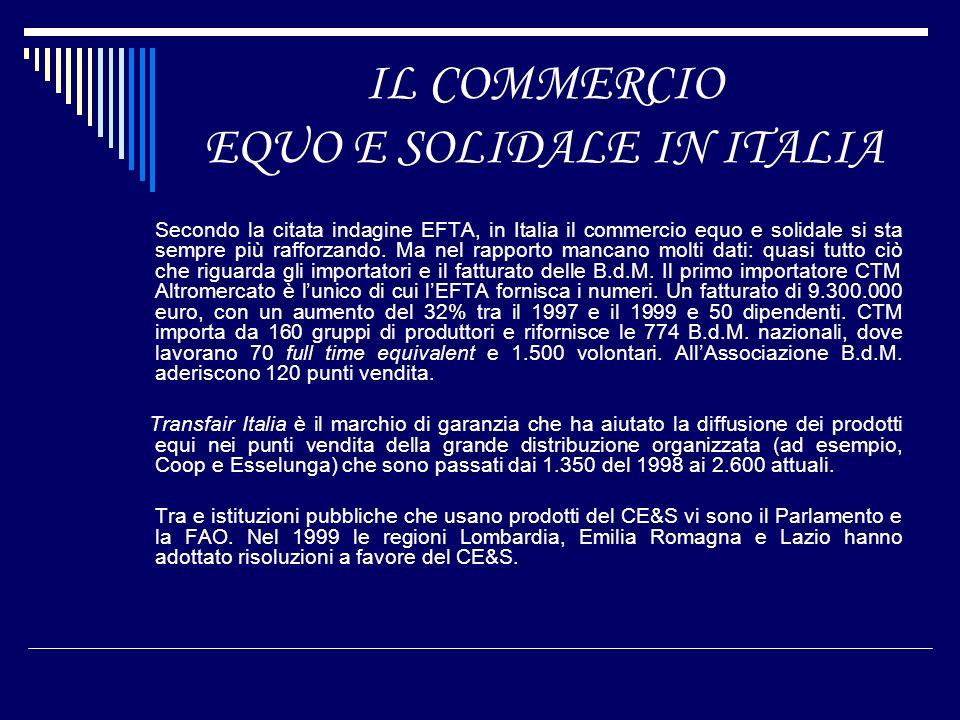IL COMMERCIO EQUO E SOLIDALE IN ITALIA