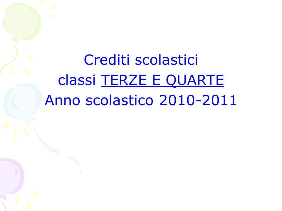 Crediti scolastici classi TERZE E QUARTE Anno scolastico 2010-2011