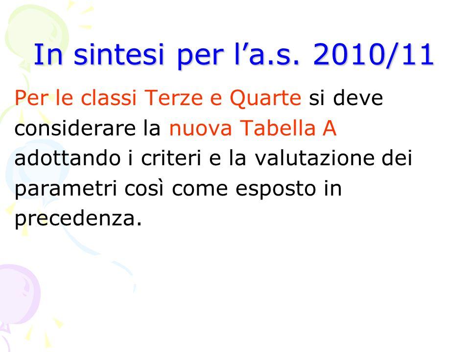 In sintesi per l'a.s. 2010/11 Per le classi Terze e Quarte si deve