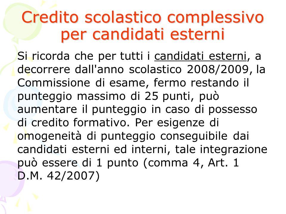 Credito scolastico complessivo per candidati esterni