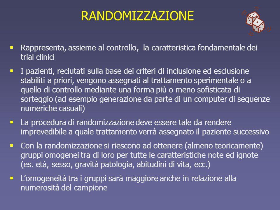 RANDOMIZZAZIONERappresenta, assieme al controllo, la caratteristica fondamentale dei trial clinici.