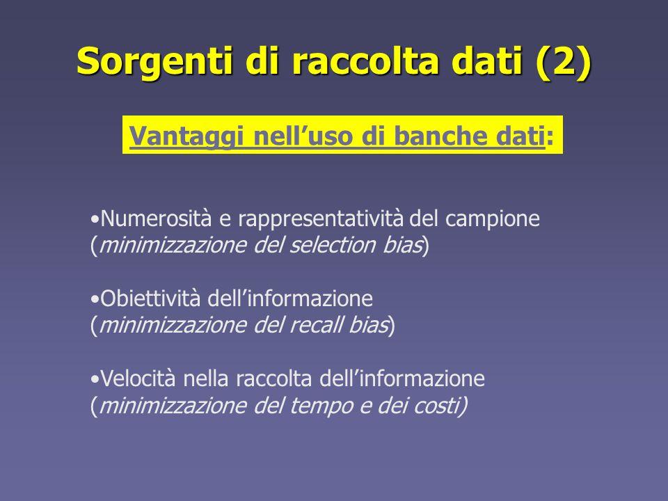 Sorgenti di raccolta dati (2)
