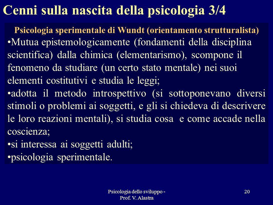 Psicologia sperimentale di Wundt (orientamento strutturalista)