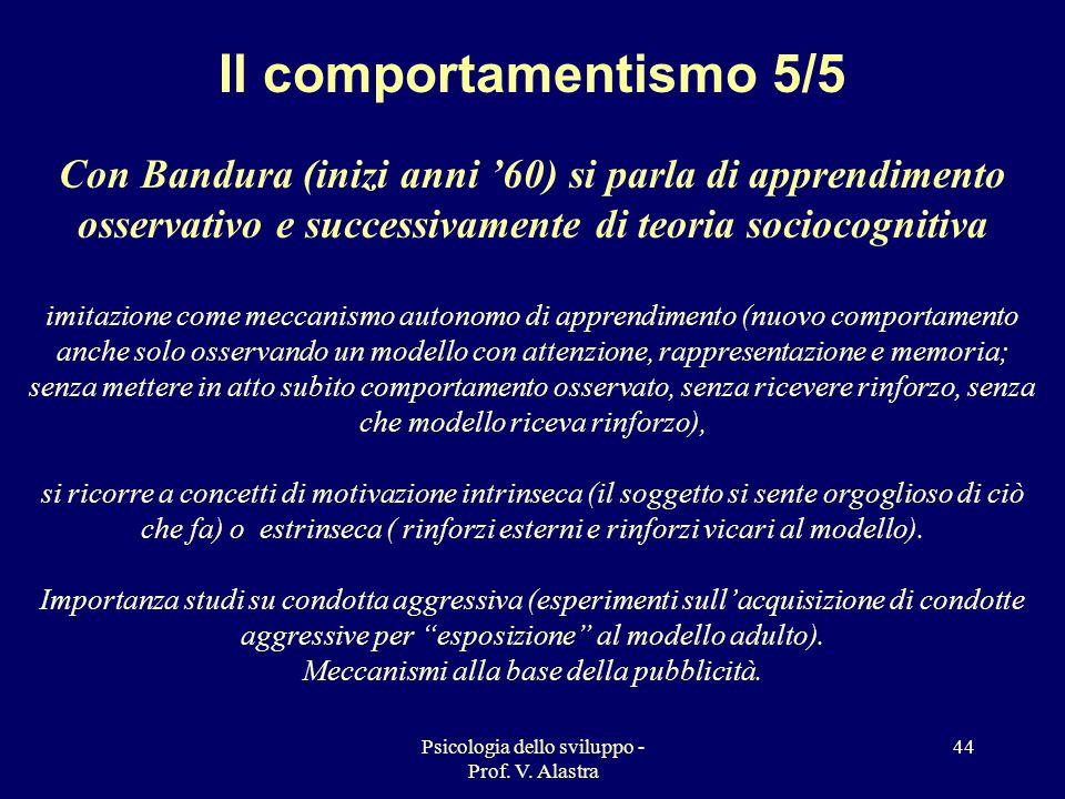 Il comportamentismo 5/5Con Bandura (inizi anni '60) si parla di apprendimento osservativo e successivamente di teoria sociocognitiva.
