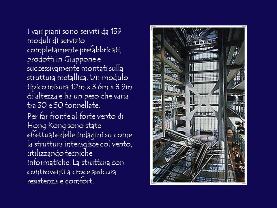 I vari piani sono serviti da 139 moduli di servizio completamente prefabbricati, prodotti in Giappone e successivamente montati sulla struttura metallica. Un modulo tipico misura 12m x 3.6m x 3.9m di altezza e ha un peso che varia tra 30 e 50 tonnellate.