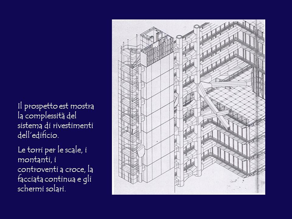 Il prospetto est mostra la complessità del sistema di rivestimenti dell'edificio.