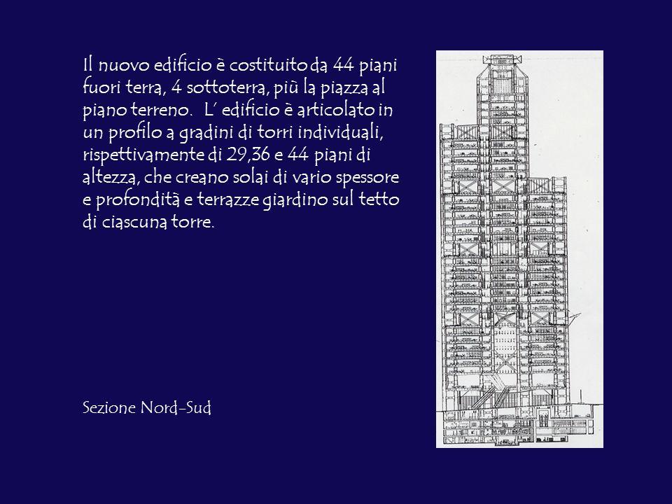 Il nuovo edificio è costituito da 44 piani fuori terra, 4 sottoterra, più la piazza al piano terreno. L' edificio è articolato in un profilo a gradini di torri individuali, rispettivamente di 29,36 e 44 piani di altezza, che creano solai di vario spessore e profondità e terrazze giardino sul tetto di ciascuna torre.