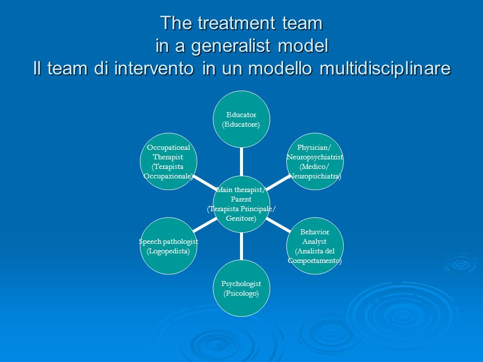 The treatment team in a generalist model Il team di intervento in un modello multidisciplinare