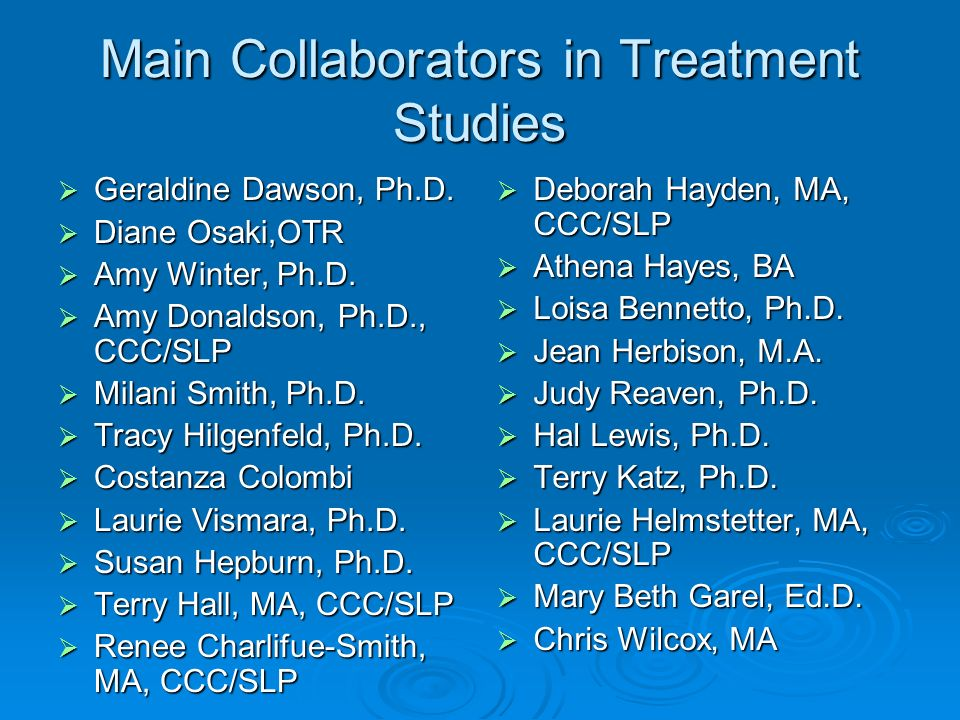 Main Collaborators in Treatment Studies