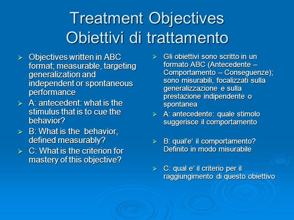 Treatment Objectives Obiettivi di trattamento