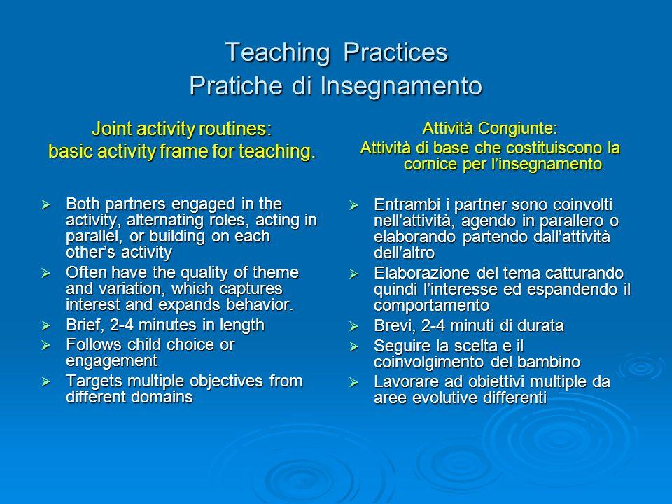 Teaching Practices Pratiche di Insegnamento