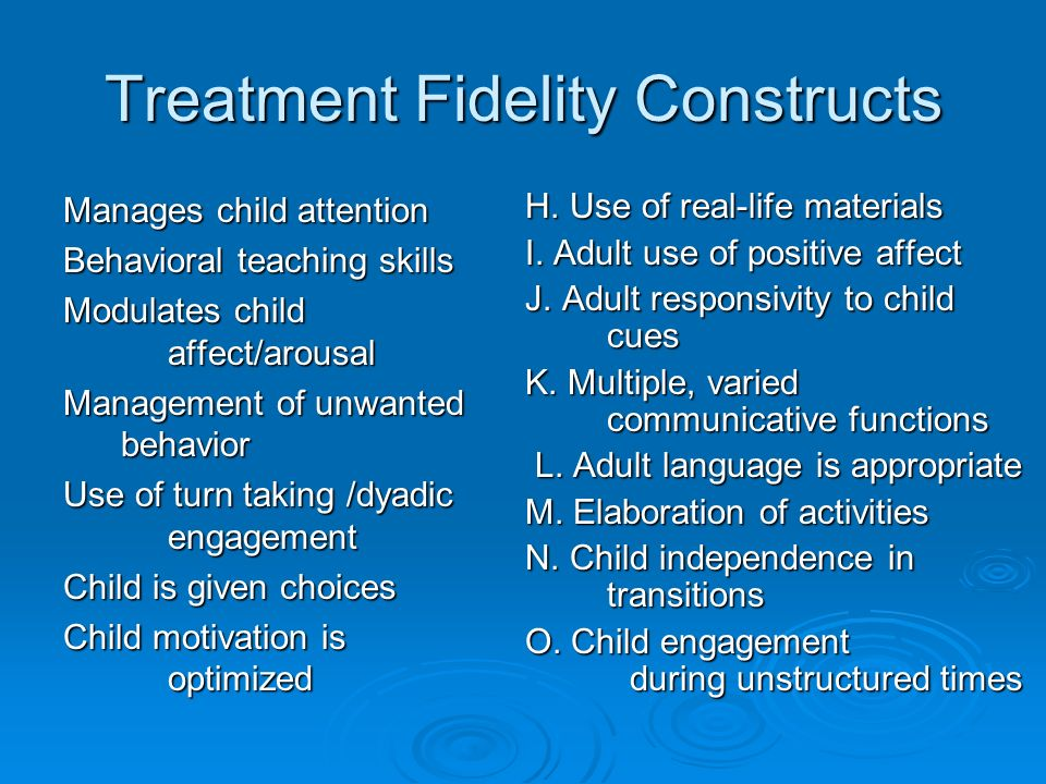 Treatment Fidelity Constructs