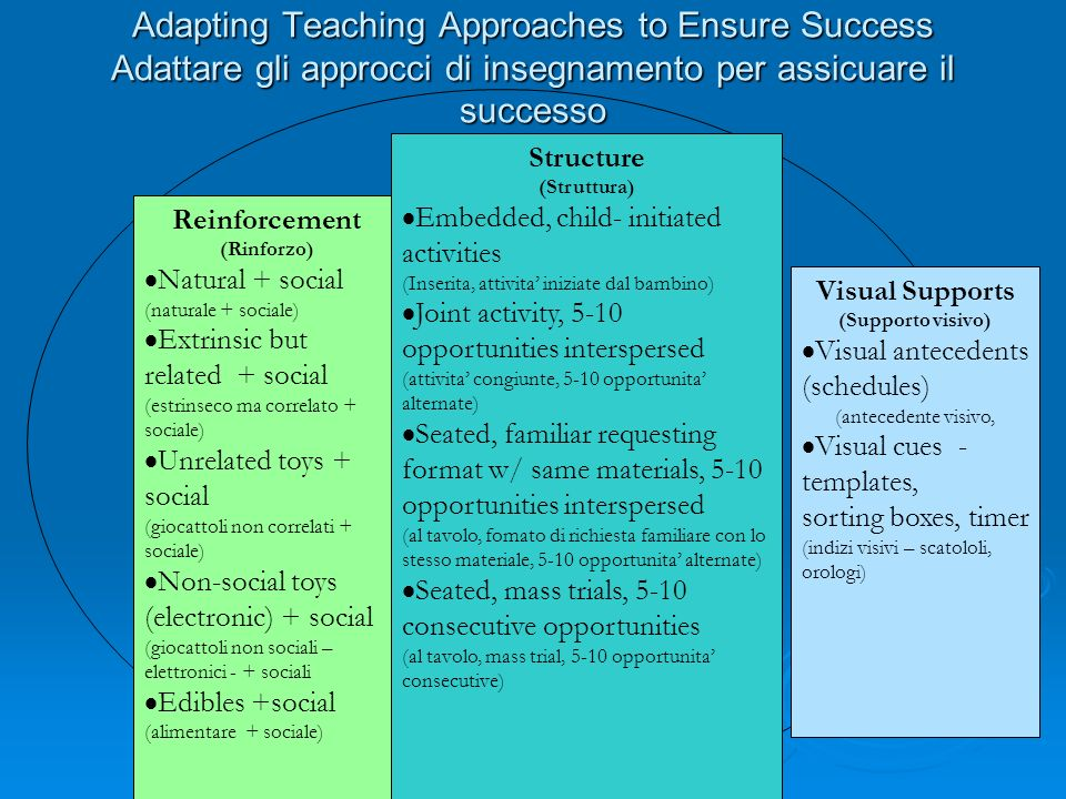 Adapting Teaching Approaches to Ensure Success Adattare gli approcci di insegnamento per assicuare il successo