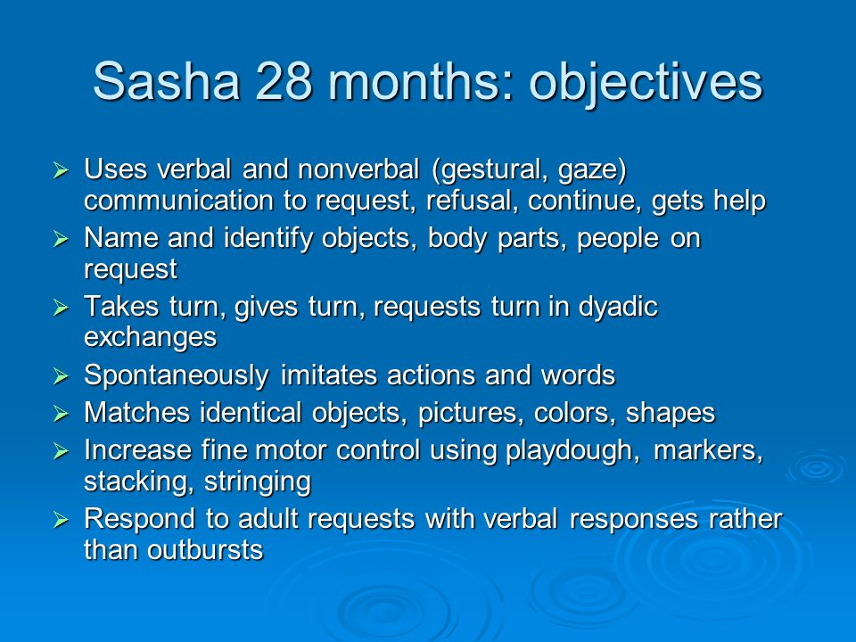 Sasha 28 months: objectives