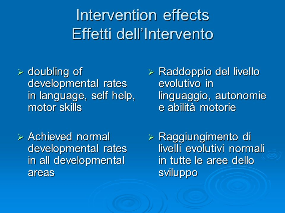 Intervention effects Effetti dell'Intervento