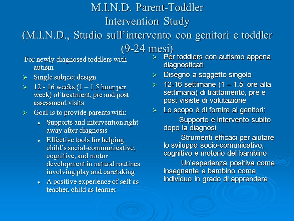 M. I. N. D. Parent-Toddler Intervention Study (M. I. N. D