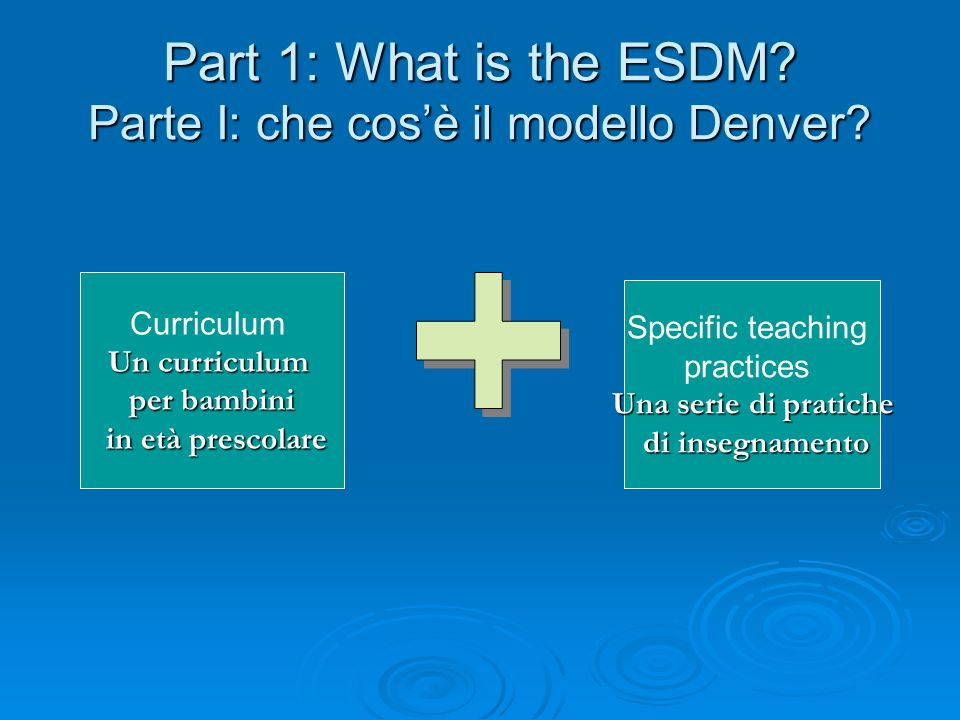 Part 1: What is the ESDM Parte I: che cos'è il modello Denver