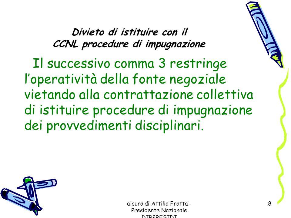Divieto di istituire con il CCNL procedure di impugnazione