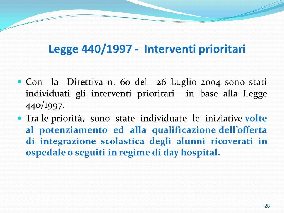 Legge 440/1997 - Interventi prioritari