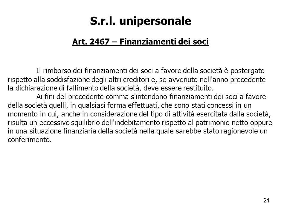 Art. 2467 – Finanziamenti dei soci