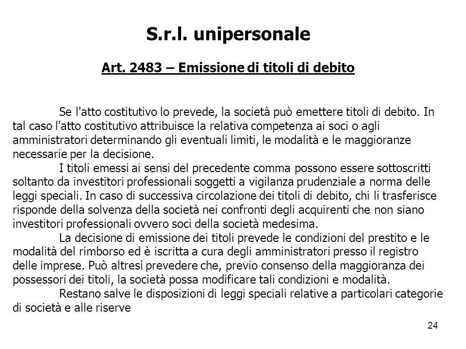 Art. 2483 – Emissione di titoli di debito