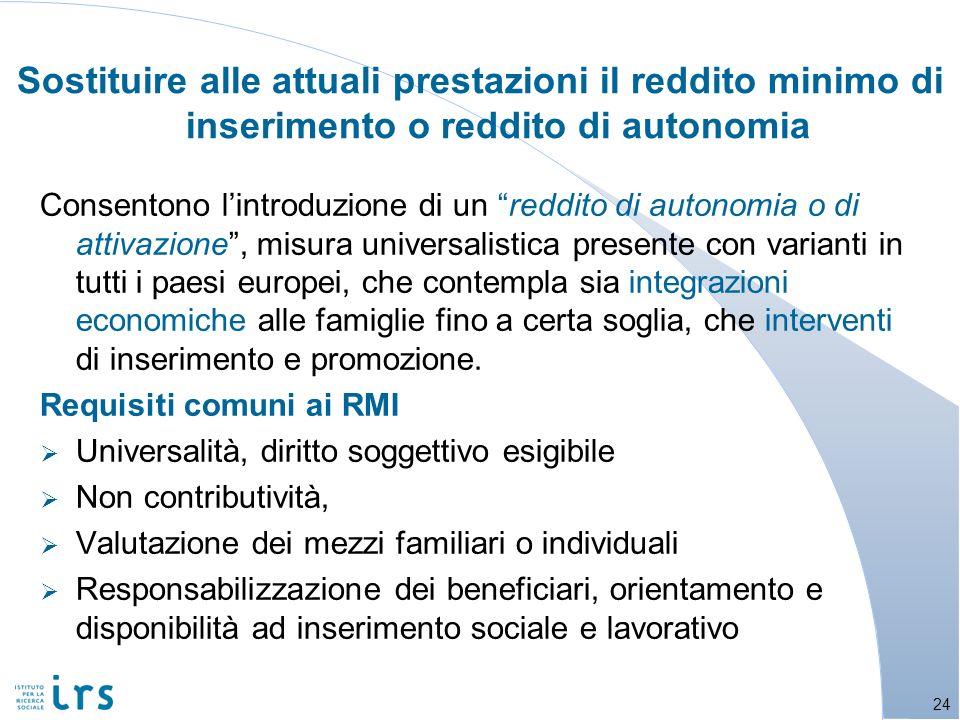 Sostituire alle attuali prestazioni il reddito minimo di inserimento o reddito di autonomia