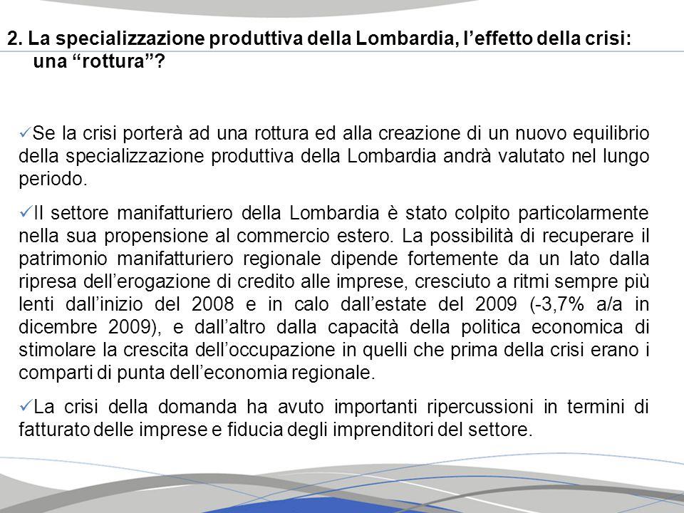 2. La specializzazione produttiva della Lombardia, l'effetto della crisi: una rottura