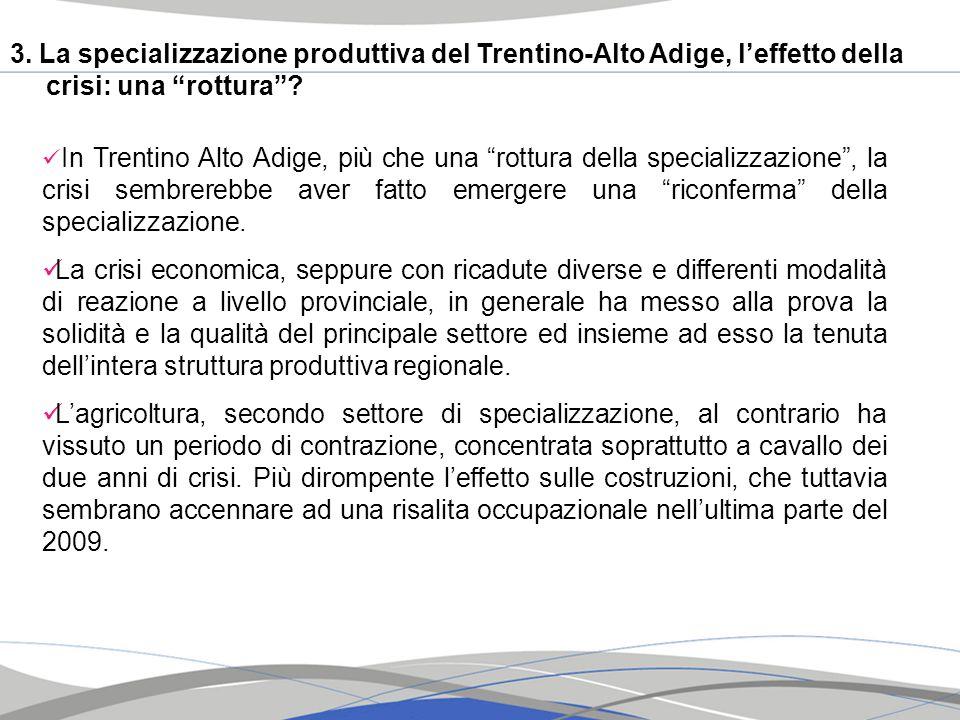 3. La specializzazione produttiva del Trentino-Alto Adige, l'effetto della crisi: una rottura