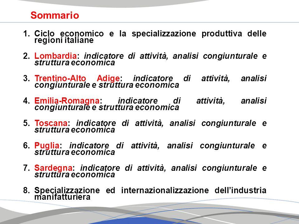 Sommario Ciclo economico e la specializzazione produttiva delle regioni italiane.