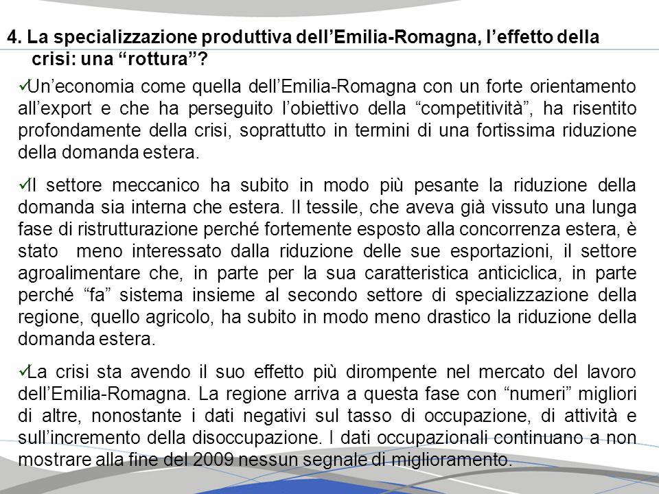 4. La specializzazione produttiva dell'Emilia-Romagna, l'effetto della crisi: una rottura