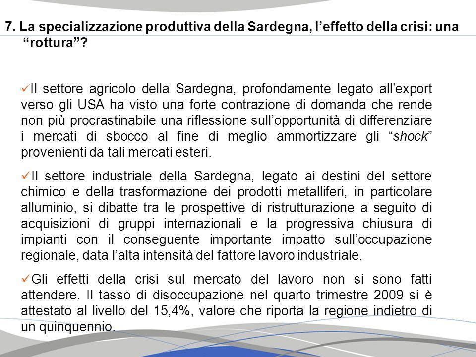 7. La specializzazione produttiva della Sardegna, l'effetto della crisi: una rottura