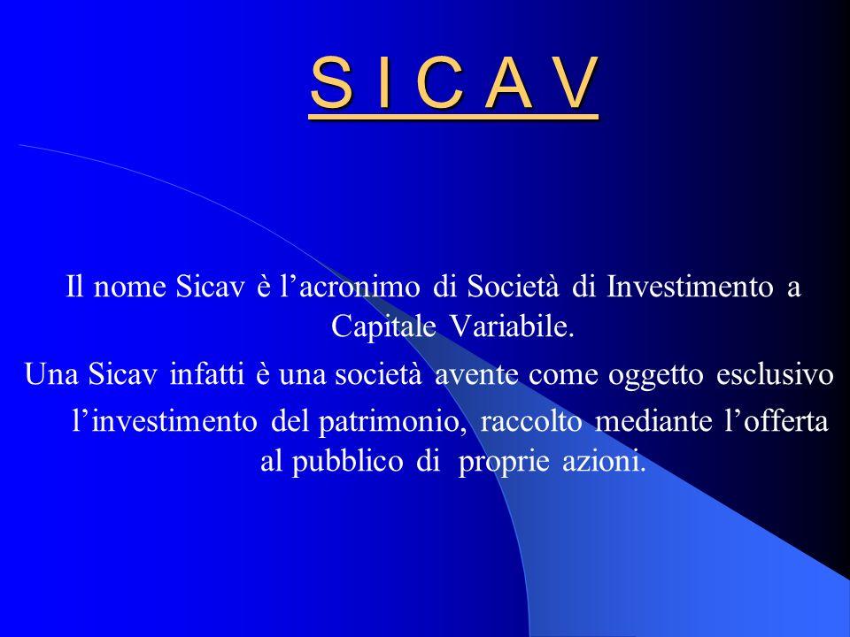 Una Sicav infatti è una società avente come oggetto esclusivo