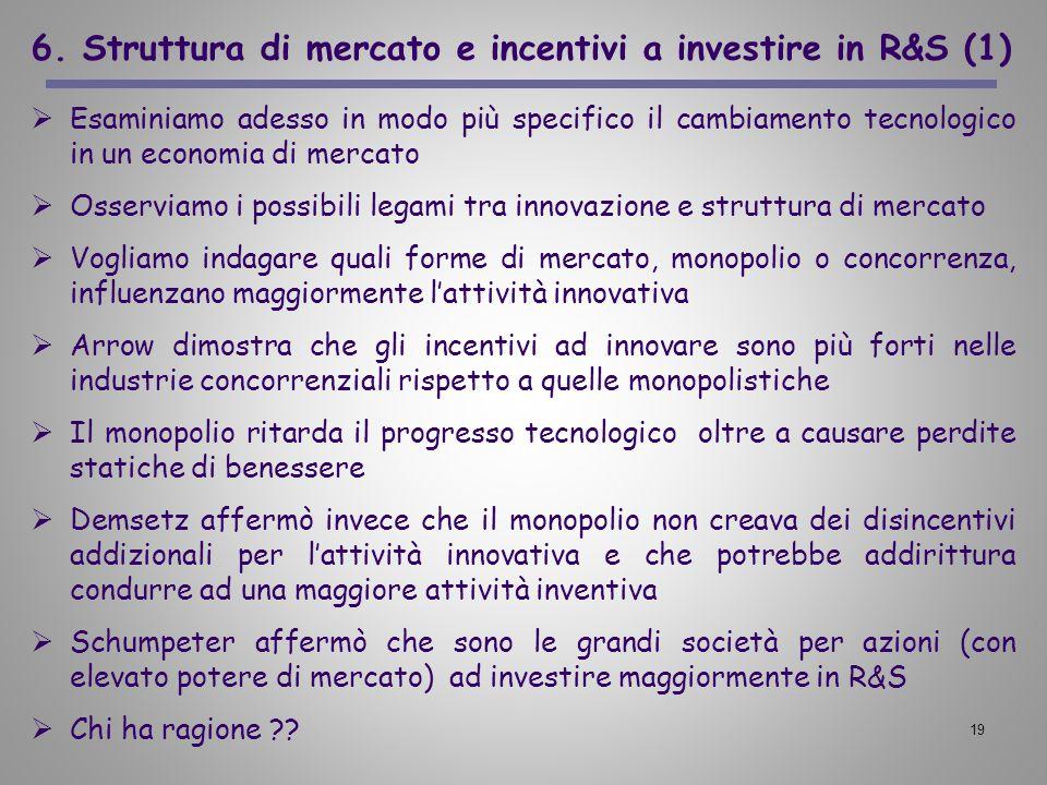 6. Struttura di mercato e incentivi a investire in R&S (1)