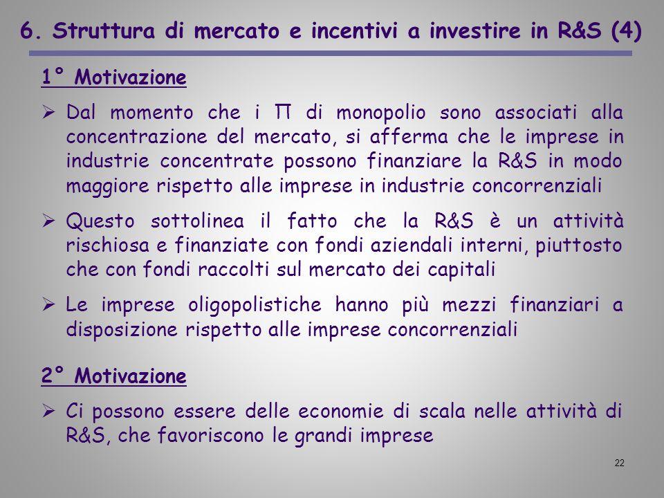 6. Struttura di mercato e incentivi a investire in R&S (4)