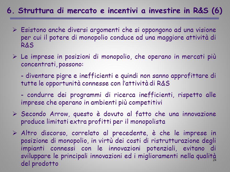 6. Struttura di mercato e incentivi a investire in R&S (6)