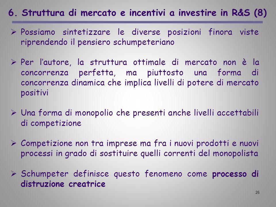 6. Struttura di mercato e incentivi a investire in R&S (8)