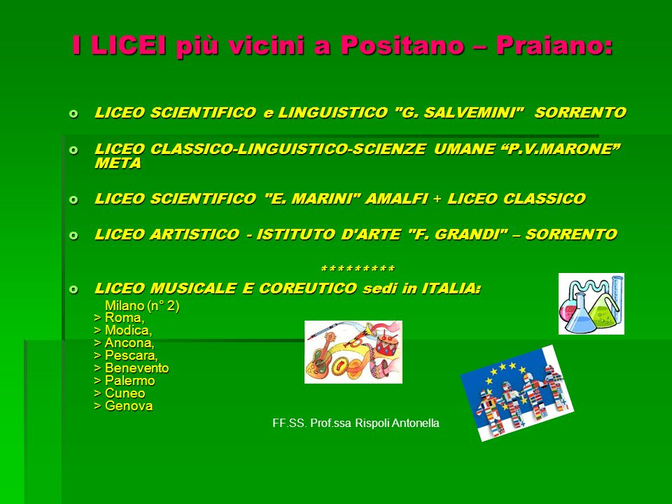 I LICEI più vicini a Positano – Praiano: