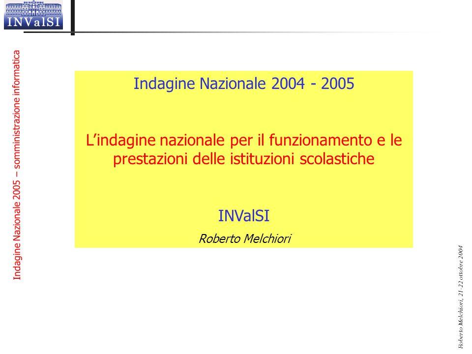 Indagine Nazionale 2004 - 2005 L'indagine nazionale per il funzionamento e le prestazioni delle istituzioni scolastiche.