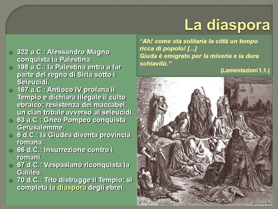 La diaspora 322 a.C.: Alessandro Magno conquista la Palestina.