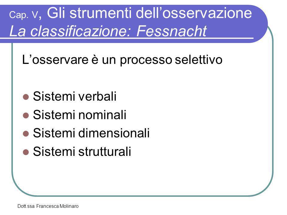 Cap. V, Gli strumenti dell'osservazione La classificazione: Fessnacht