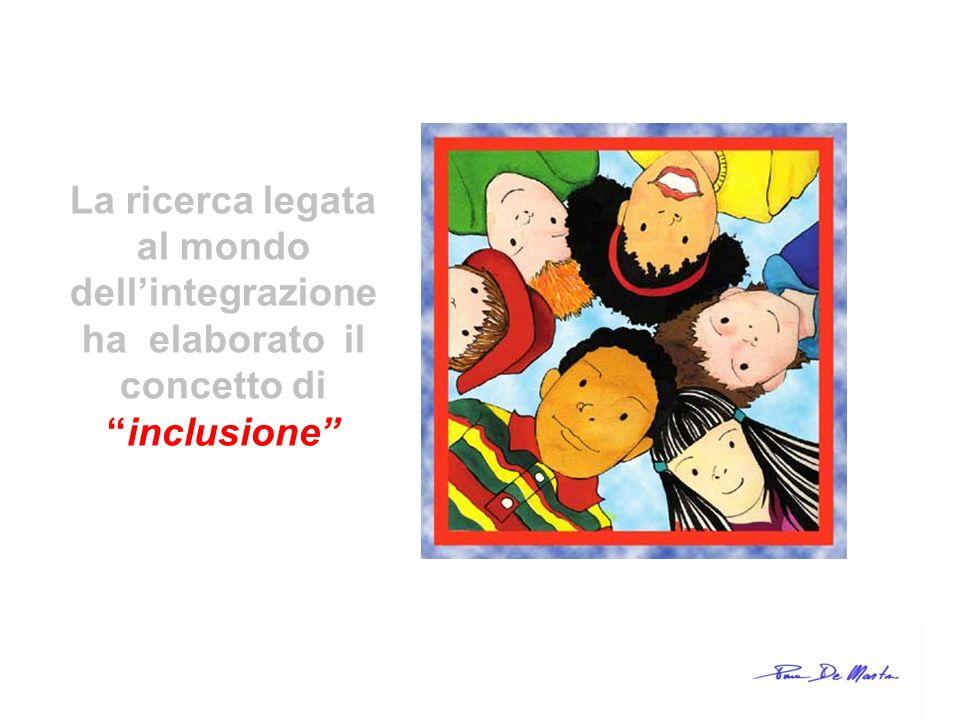 La ricerca legata al mondo dell'integrazione ha elaborato il concetto di inclusione