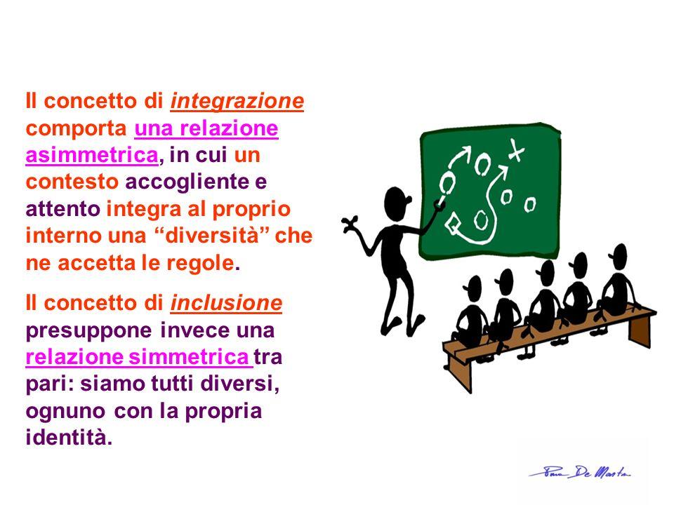 Il concetto di integrazione comporta una relazione asimmetrica, in cui un contesto accogliente e attento integra al proprio interno una diversità che ne accetta le regole.