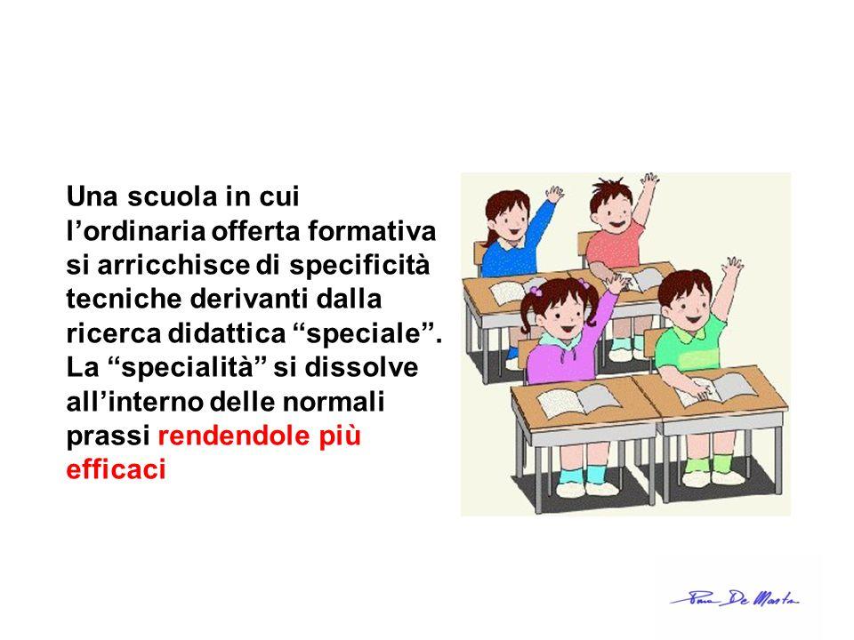 Una scuola in cui l'ordinaria offerta formativa si arricchisce di specificità tecniche derivanti dalla ricerca didattica speciale .