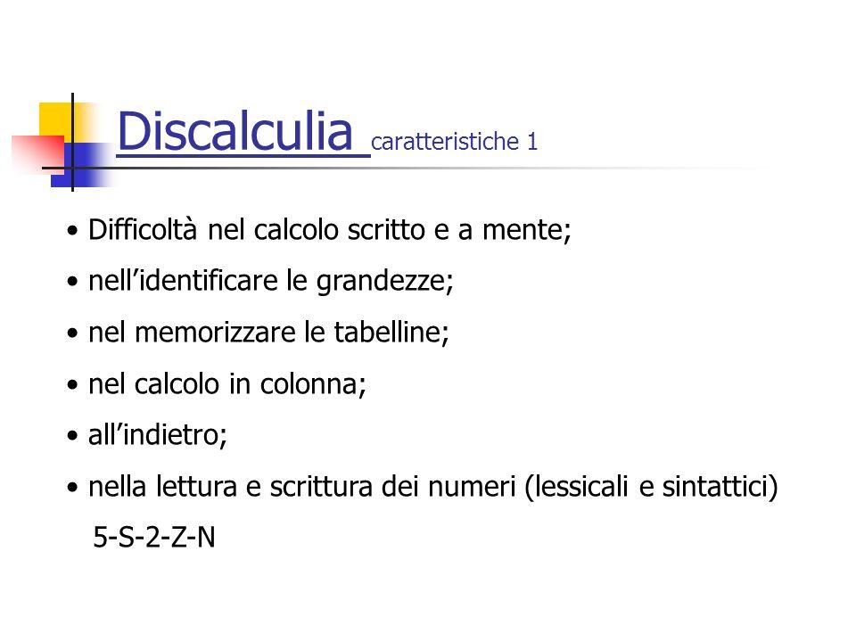 Discalculia caratteristiche 1