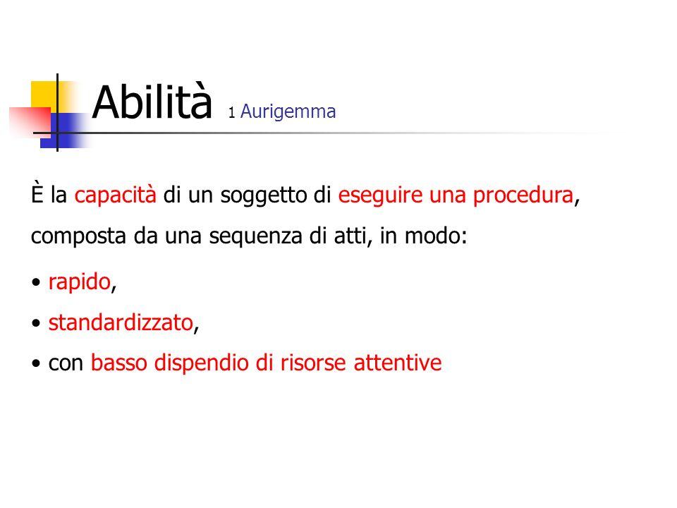 Abilità 1 Aurigemma È la capacità di un soggetto di eseguire una procedura, composta da una sequenza di atti, in modo: