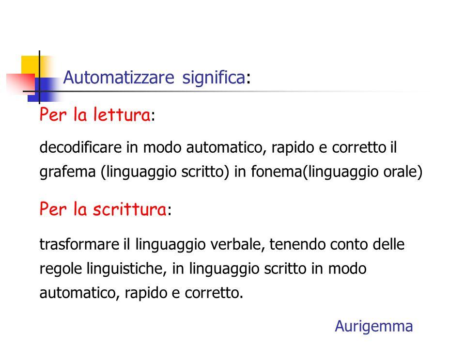 Automatizzare significa:
